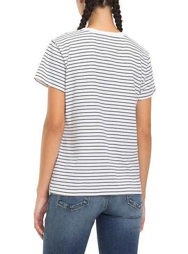 T-Shirt Tommy Jeans Stripe Chest White Woman