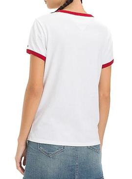 T-Shirt Tommy Jeans Signature Ringer White Woman