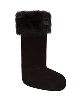 Hunter Faux Fur Black Socks For Woman