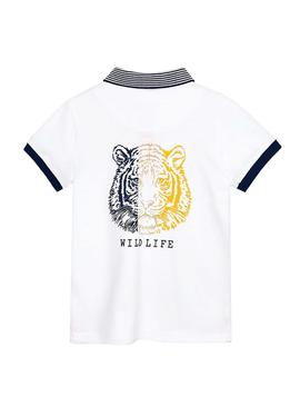 Polo Shirt Mayoral Wildlife White for Boy