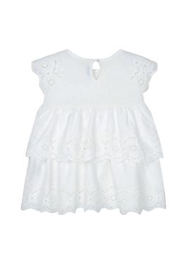 Dress Mayoral Knit Embroidered Ecru Girl