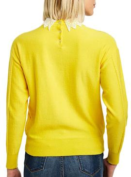 Pullover Naf Naf Collar Guipur Yellow Woman