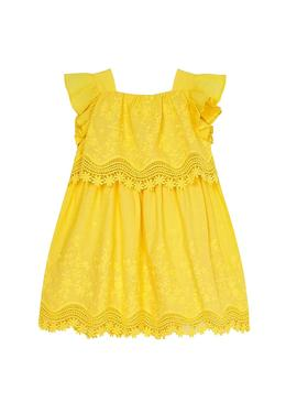 Dress Mayoral Openwork Yellow for Girl