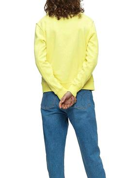 Sweatshirt Calvin Klein Vegetable Dye Yellow Woman