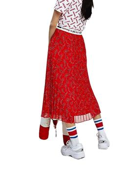 Midi Skirt Tommy Jeans Red For Woman