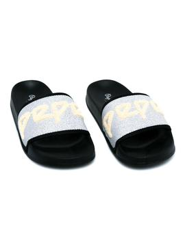 Flip flops Pepe Jeans Slider Tow Silver for Woman