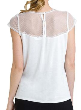 Top Naf Naf Lace White for Woman