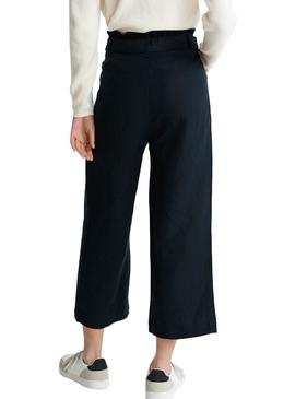 Trousers Superdry Eden Linen Blu Navy for Woman