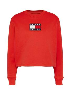 Sweatshirt Tommy Jeans Crew Red for Woman