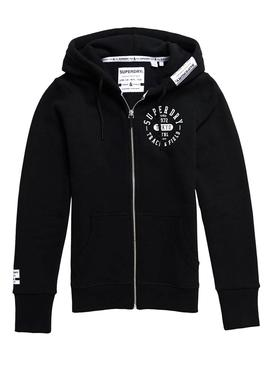 Sweatshirt Superdry Track Ziphood Black Woman