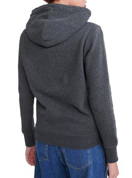 Sweatshirt Superdry V Logo Metalwork Gray Woman