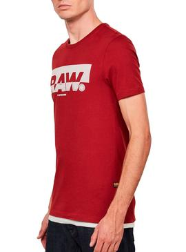 T-Shirt G Star Raw Graphic Slim Red for Man