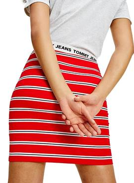 Skirt Tommy Jeans Stripe Bodycon Red Woman