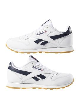 Sneaker Reebok Classic Leather White Blu Navy