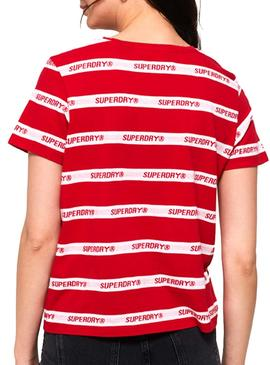 T-Shirt Superdry Cote Stripe Red Woman